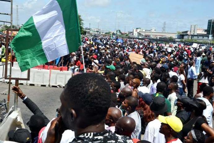 发生在拉各斯市莱基区的抗议活动据称发生流血事件