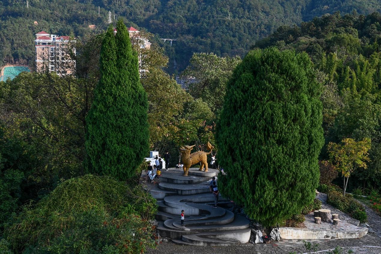 2020年11月22日,三明市麒麟山公园,市民在麒麟雕像前游玩。