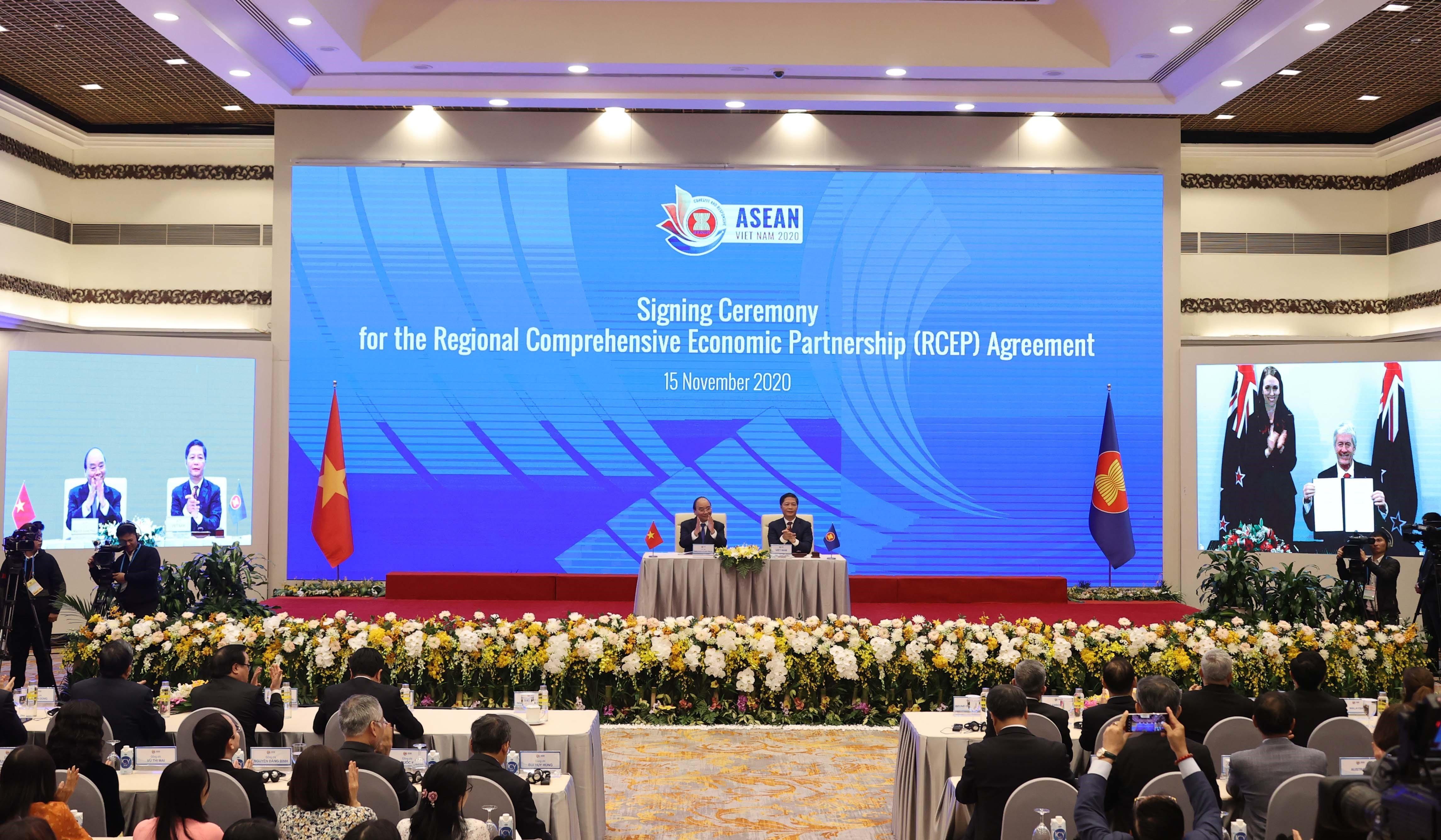 区域全面经济伙伴关系协定(rcep)签署仪式现场.