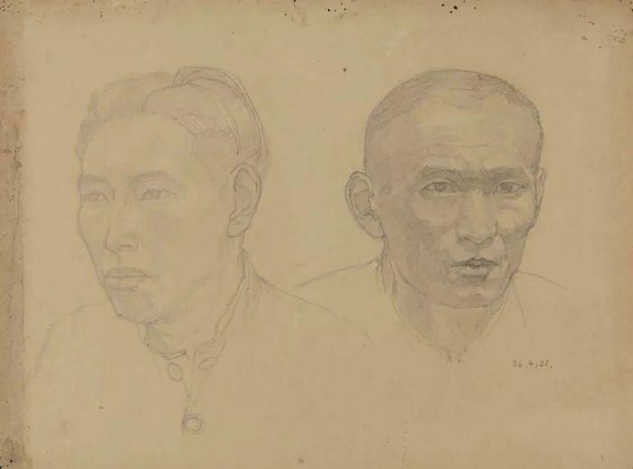 刘开渠 《两个头像》 1936年