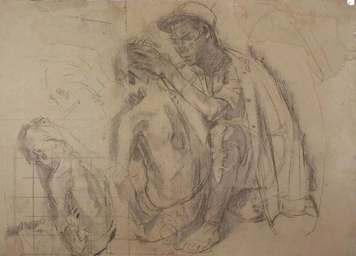 冯法祀 《捉虱子——素描创作稿》 1948年