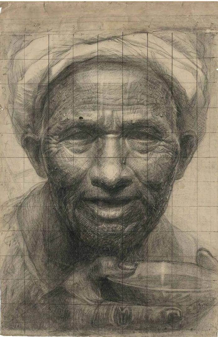 罗中立 《父亲——素描手稿》 1980年