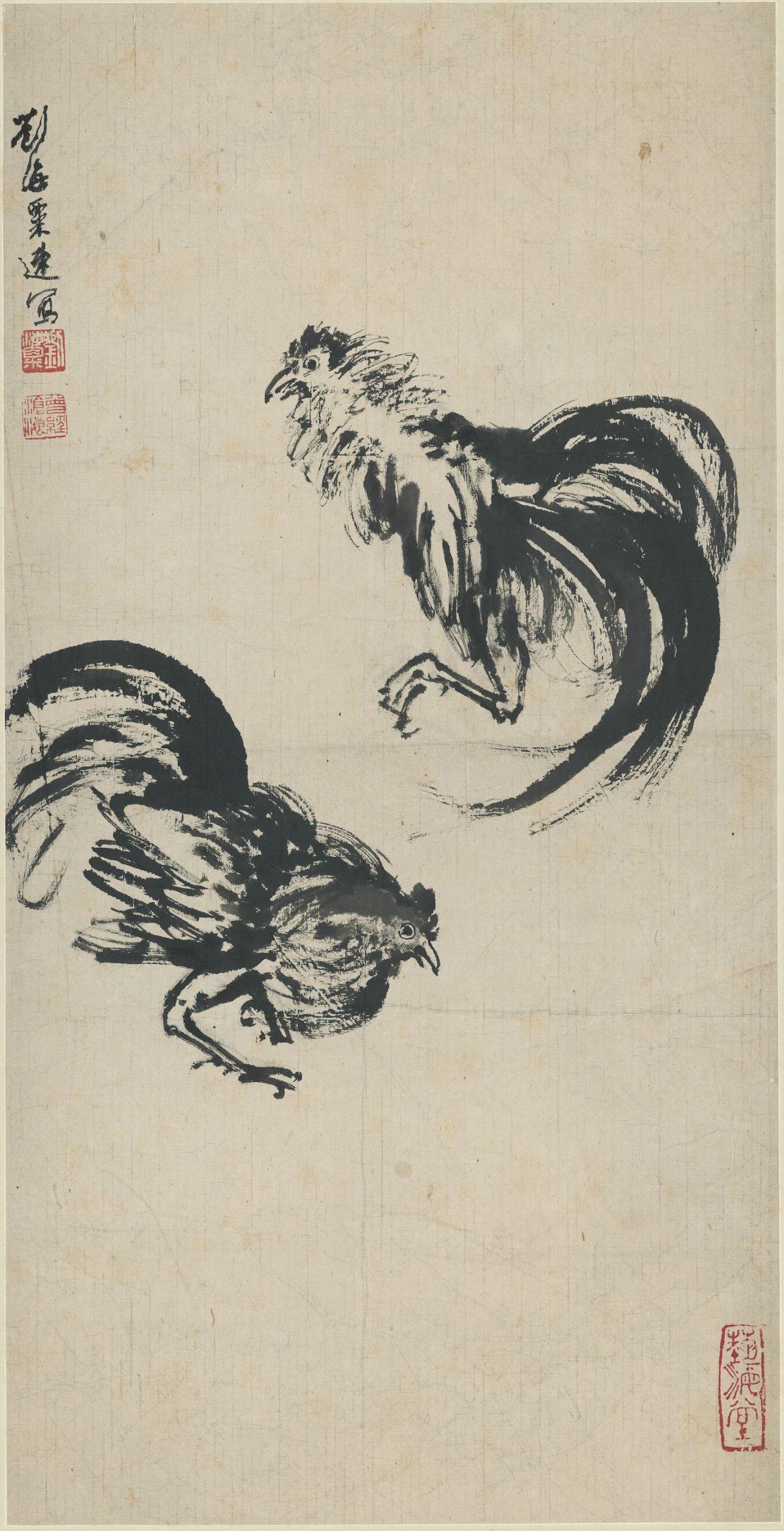 《斗鸡图》 刘海粟102×52cm速写1940年