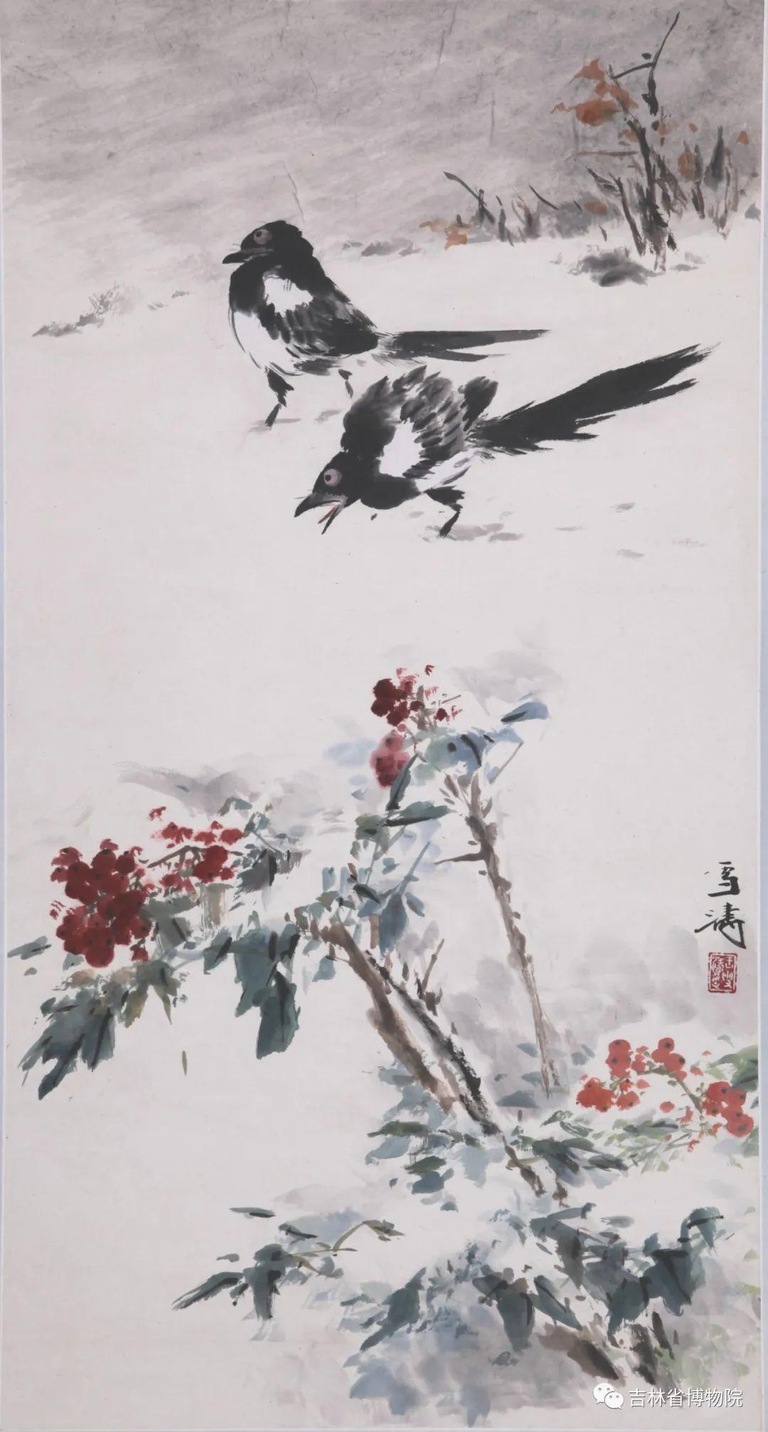 近现代 王雪涛《寒雪双鹊图》 纵84厘米 横44厘米
