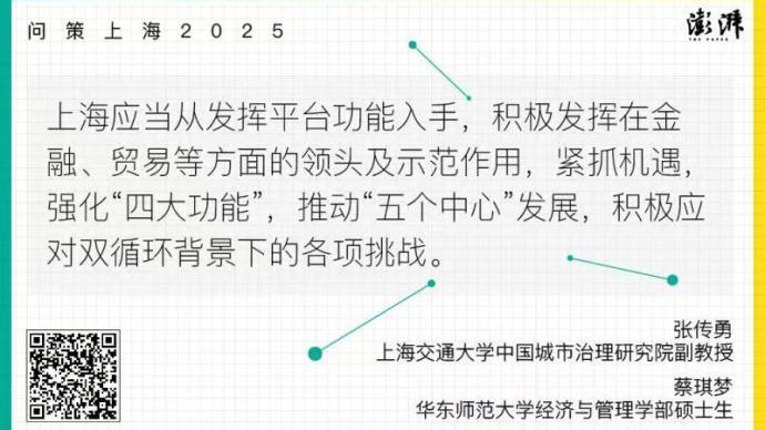 問策上海2025|發揮平臺功能,推進上海成為雙循環節點