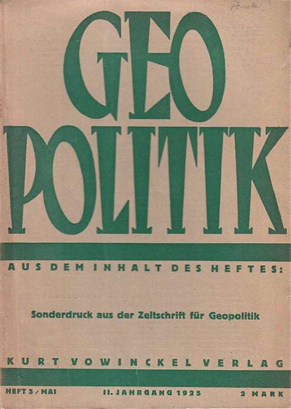 1925年出版的两份《地缘学杂志》,豪斯霍弗主编