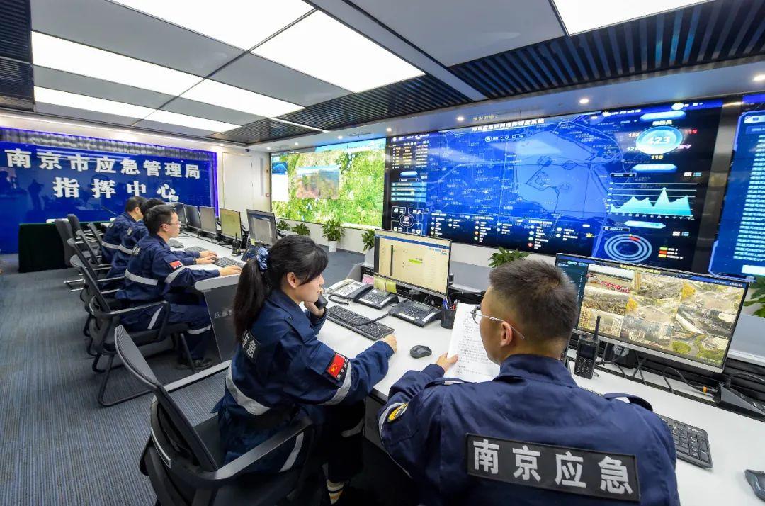 """南京市应急管理局指挥中心,""""181""""信息化系统全面开启了""""智慧应急""""新模式。南报融媒体记者段仁虎摄"""