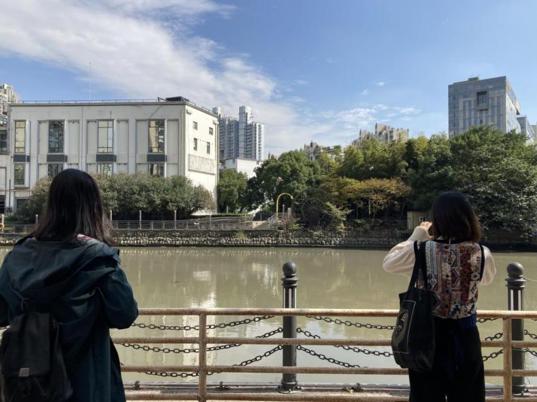 """""""沿苏州河而行""""漫步者在中远两湾城内遥望对面梦清园里的上海啤酒厂旧址。 澎湃新闻记者 沈健文 图"""