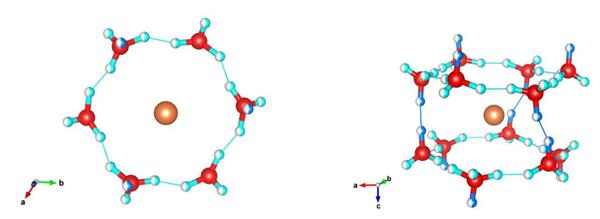"""水相符物C1'在R-3c对称性下的组织,其中主要组织模型(H2O环)以分歧的投影表现,表现出两栽分歧的无序模式,""""环状""""无序(在由六个氧原子构成的相通扶手椅的虚拟平面)和""""无环""""(平面外)无序"""
