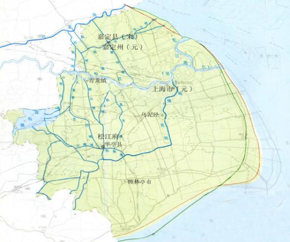 元时期上海水系图,图片出自《上海地名志》1998版。赵敏华 供图