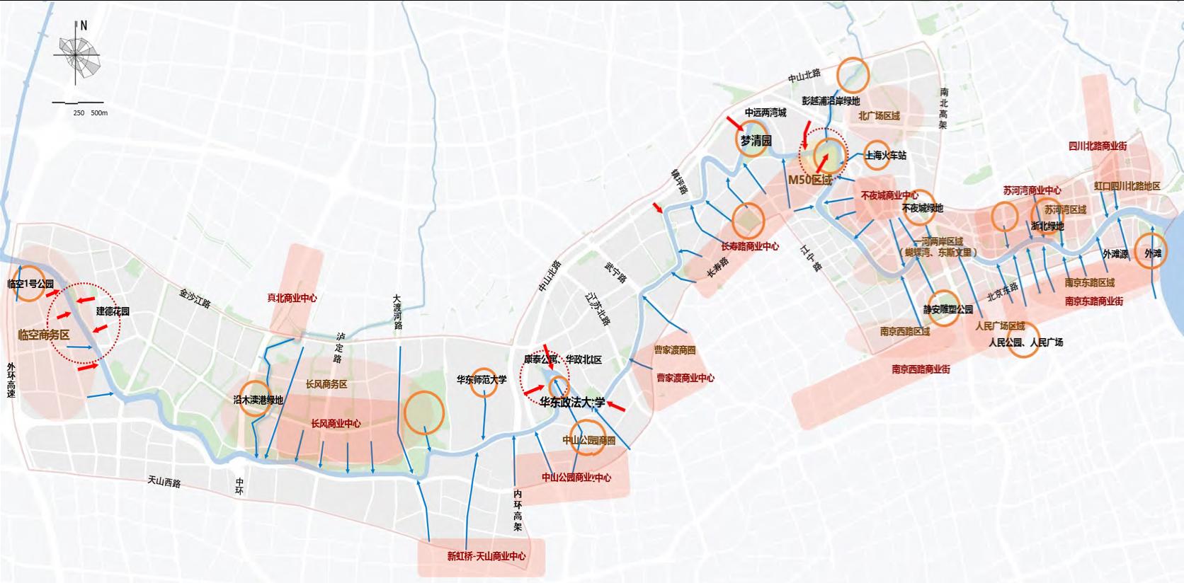 苏州河中心城段节点,点击图片放大。陈丽红 供图
