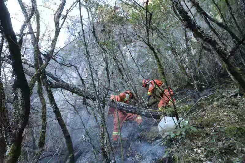 消防救援人员正在扑火。本文图片来源:云南省森林消防总队