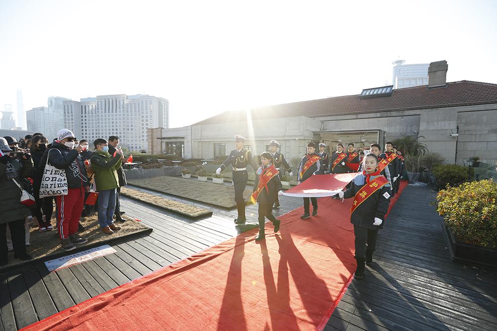 黄浦区青少年在上海市历史博物馆升国旗。共青团黄浦区委员会 供图