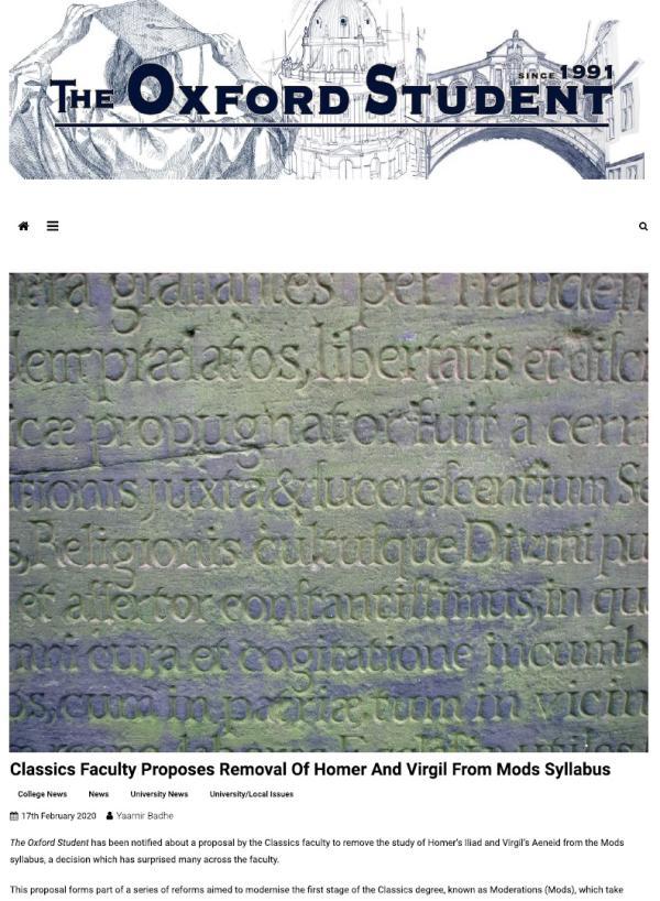 牛津大学古典系动议从必修课大纲中移出维吉尔和荷马