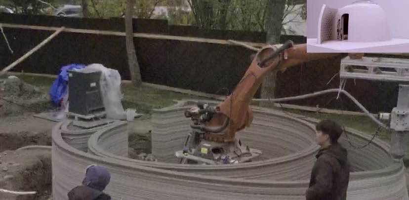 建设中的混凝土3D打印图书屋 宝山区供图