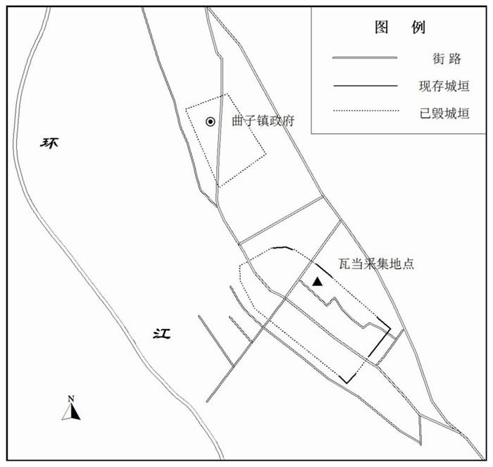 曲子镇残存古城遗迹及瓦当发现地点示意图(北城为明代古城,南城为汉代古城)