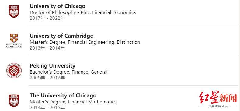 领英显示,范轶然先后就读于北京大学、剑桥大学和芝加哥大学。截图