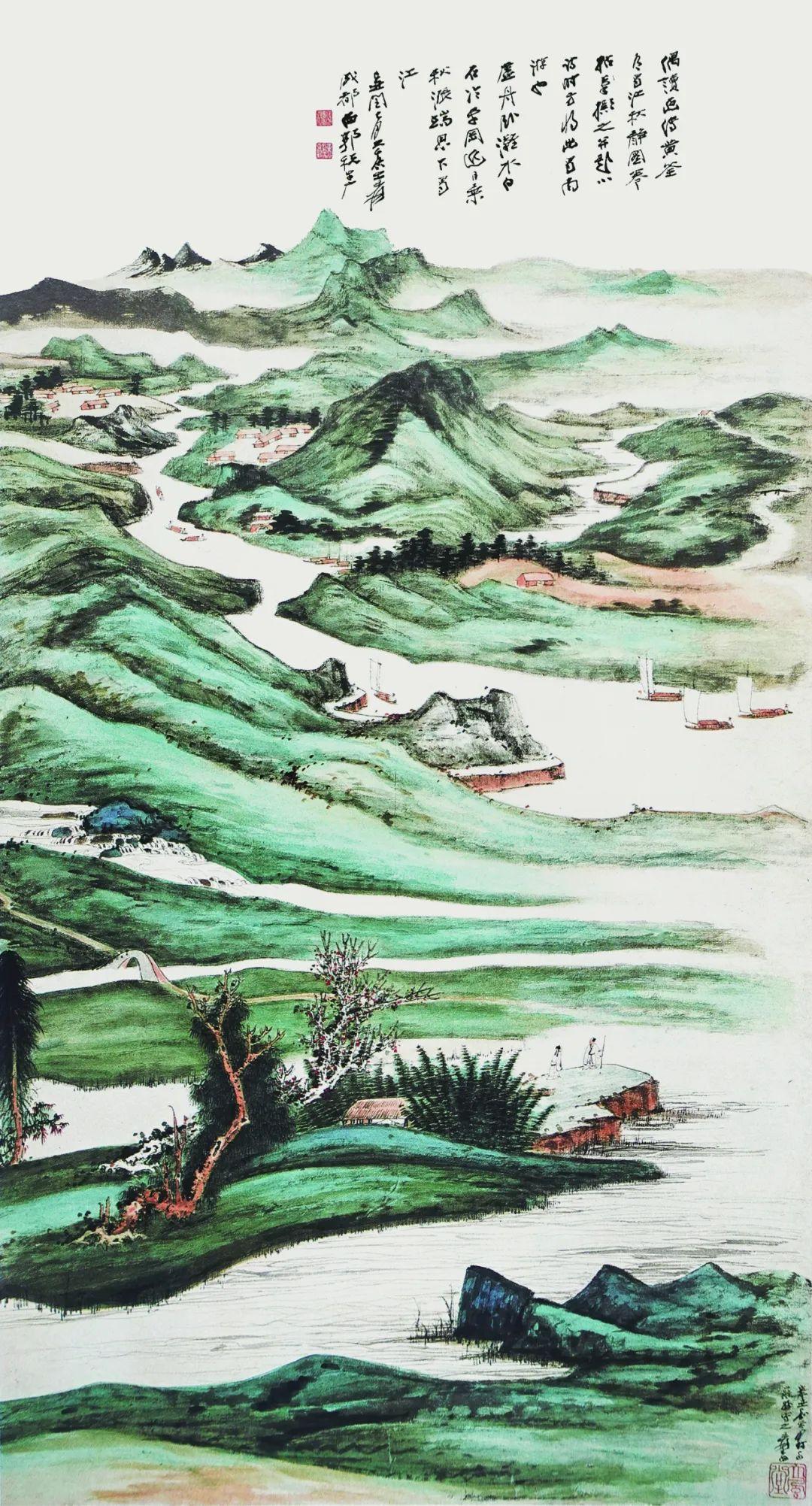 张大千 蜀江秋静图 纸本设色 纵133厘米 横72厘米