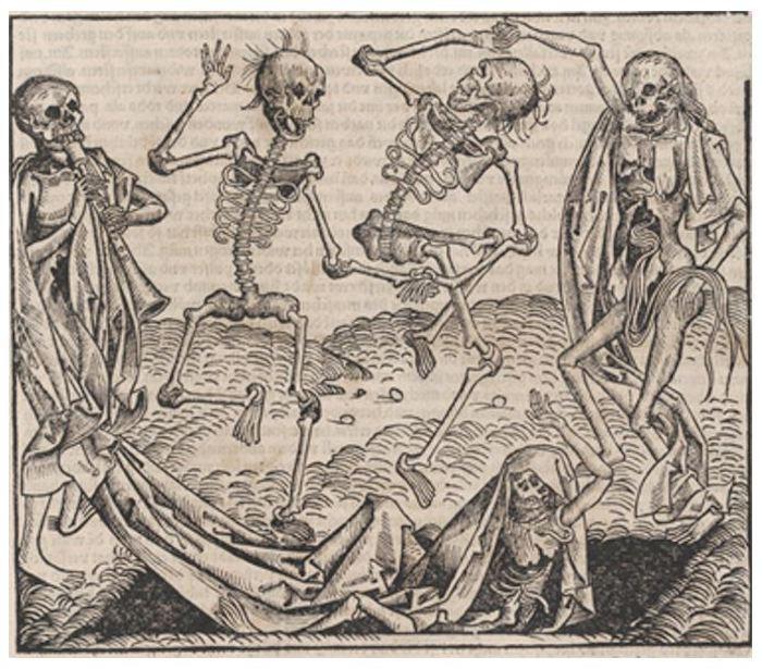 死亡之舞(迈克尔·沃尔吉姆特,1493,图片来源:美国大都会博物馆)