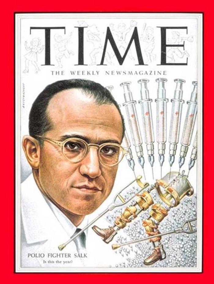 1954年,美国《时代》周刊封面上的乔纳斯·索尔克(图片来源:《时代》周刊)
