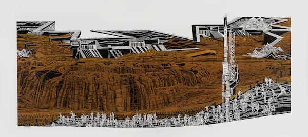 沙永汇 奔流时代 67cm×180cm 套色木刻 2020年
