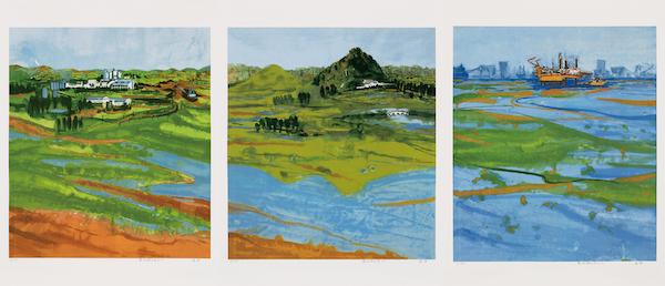 康蕾 黄河新时代系列一二三 版画 70cm×210cm 2020年