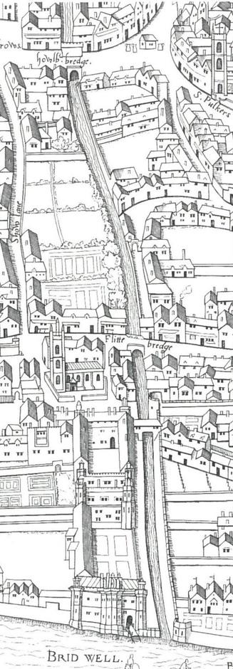 """十六世纪的伦敦地图上,描绘弗利特河往南流入泰晤士河的版画。当时弗利特河还没有""""埋入地下""""。图片来源:en.wikipedia.org"""