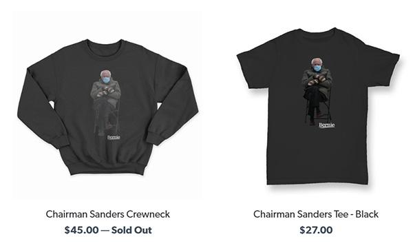 桑德斯竞选网站商店上的相关商品。