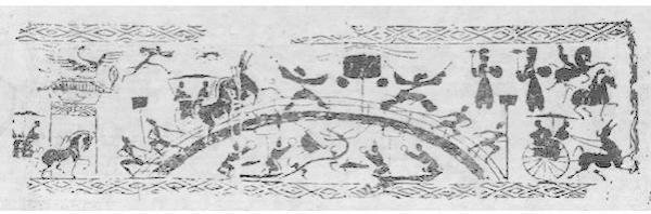 """在汉代画像砖中经常出现的""""泗水捞鼎""""题材"""