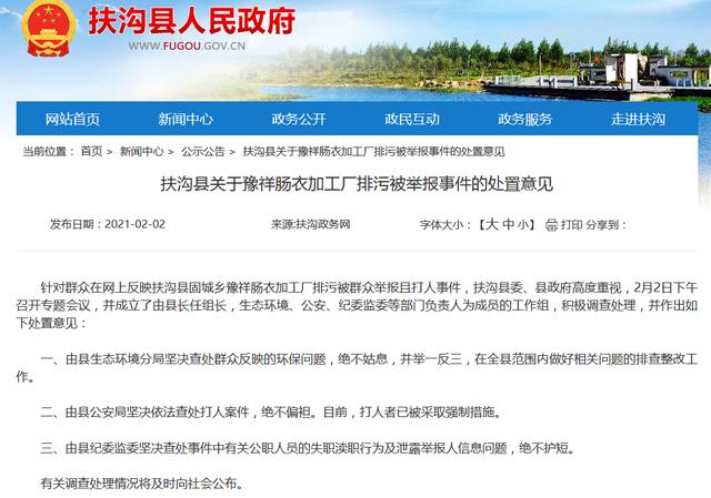 扶沟县政府官网截图