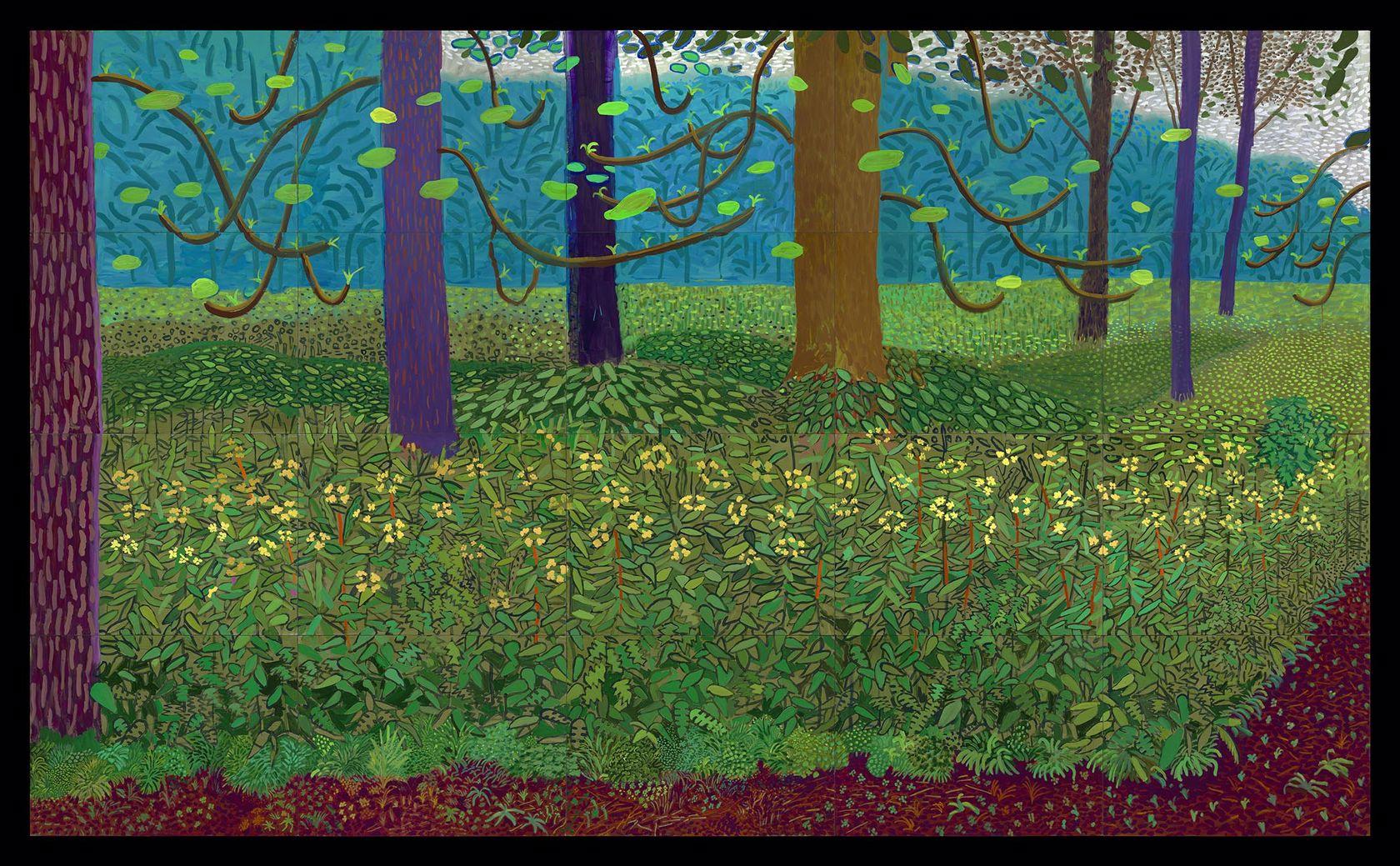 《更大的树下》(Under the Trees, Bigger),霍克尼
