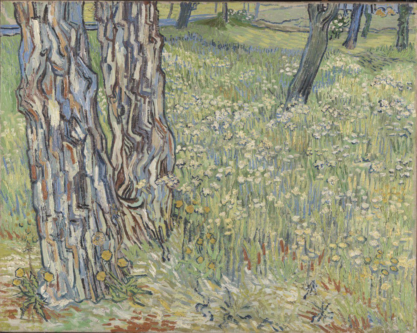 《草丛中的树干》,梵高
