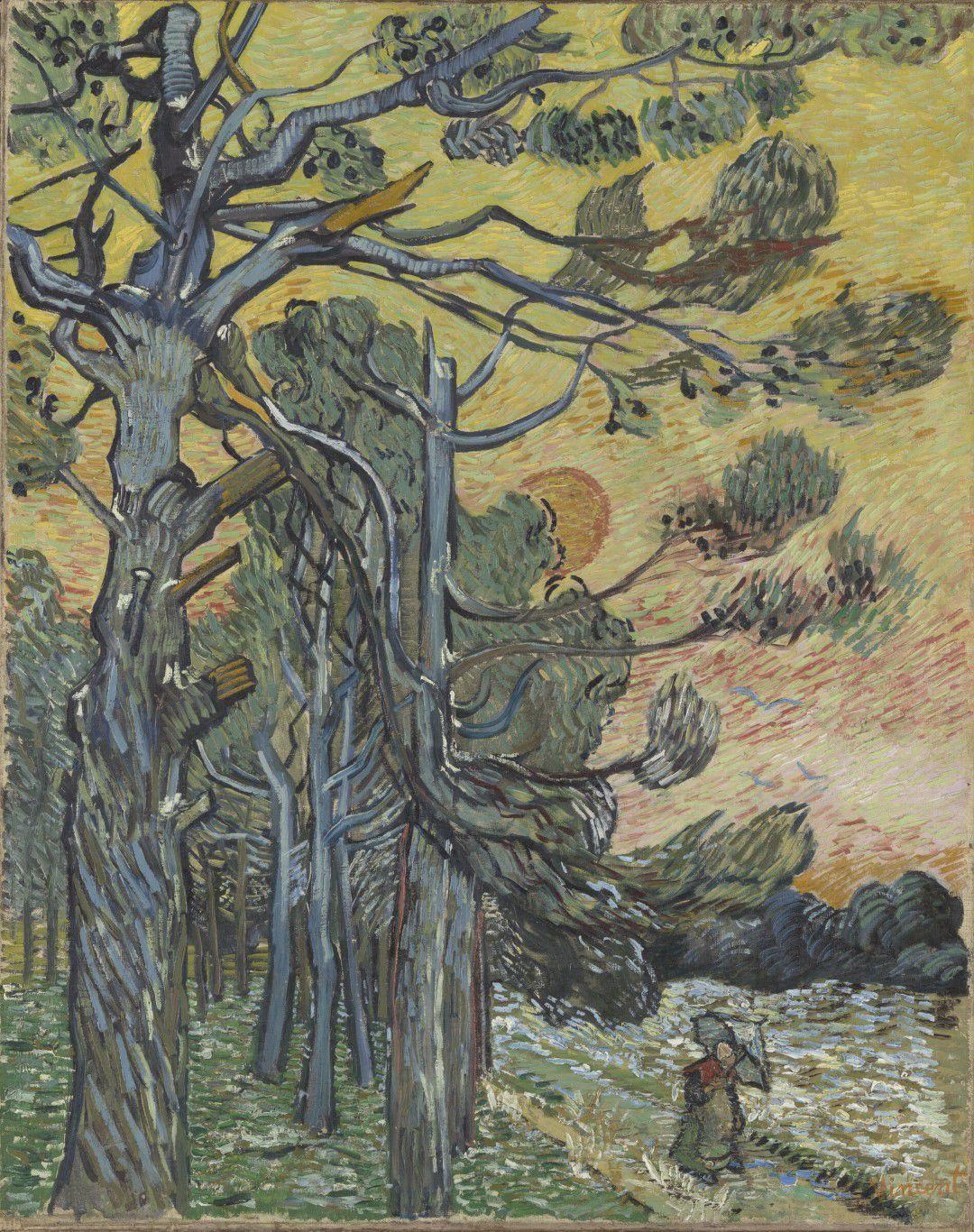 《日落前的松树》,梵高