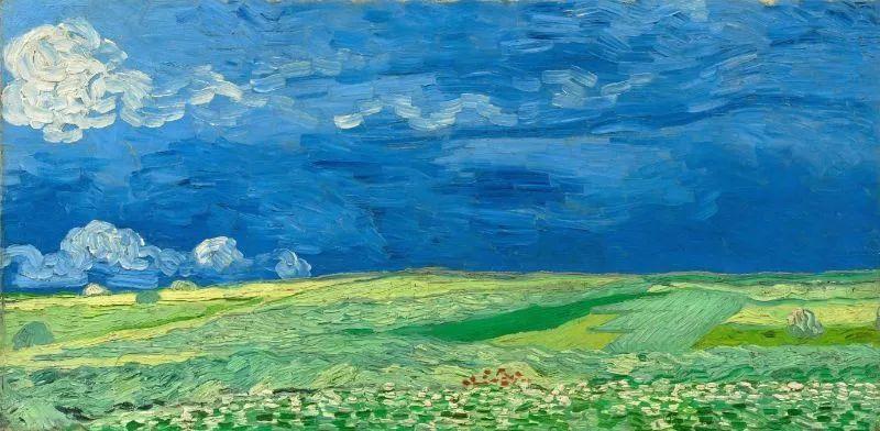 《暴雨来临前的麦田》 1890年7月创作于瓦兹河畔奥维尔,现藏于阿姆斯特丹梵高博物馆