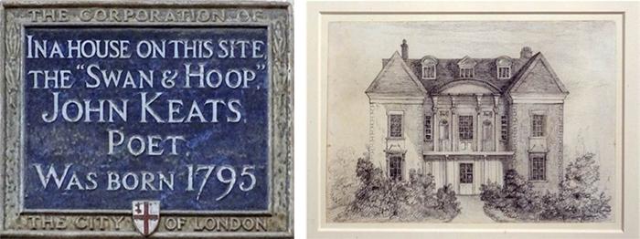 左图标记着济慈出生的客栈和马厩,伦敦摩尔菲尔德街24号;右图为克拉克的学校,恩菲尔德。