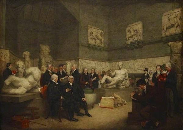 《有人参观埃尔金大理石雕像的盛况》,阿奇博尔德·阿彻绘,1819,大英博物馆