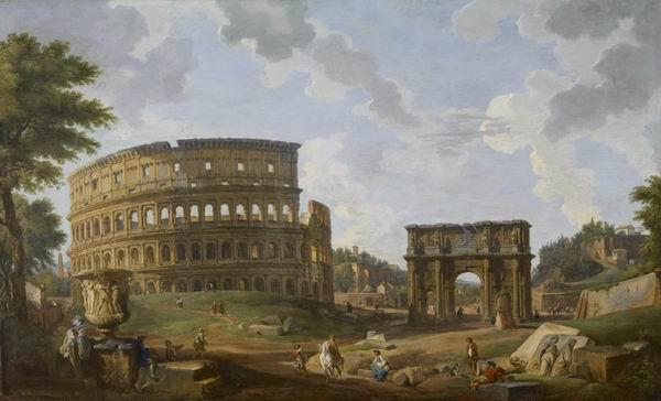 《角斗场》,乔万尼·保罗·帕尼尼绘,1747,沃特斯美术馆