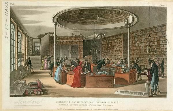 """版画《""""缪斯圣殿""""书店》,伦敦,芬斯伯里广场,1809,大英图书馆"""