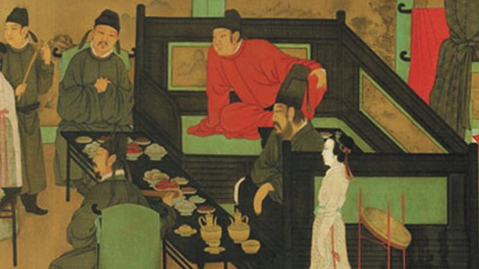 (五代十国)《韩熙载夜宴图》局部,图中食物仍具有唐代食物的特点。