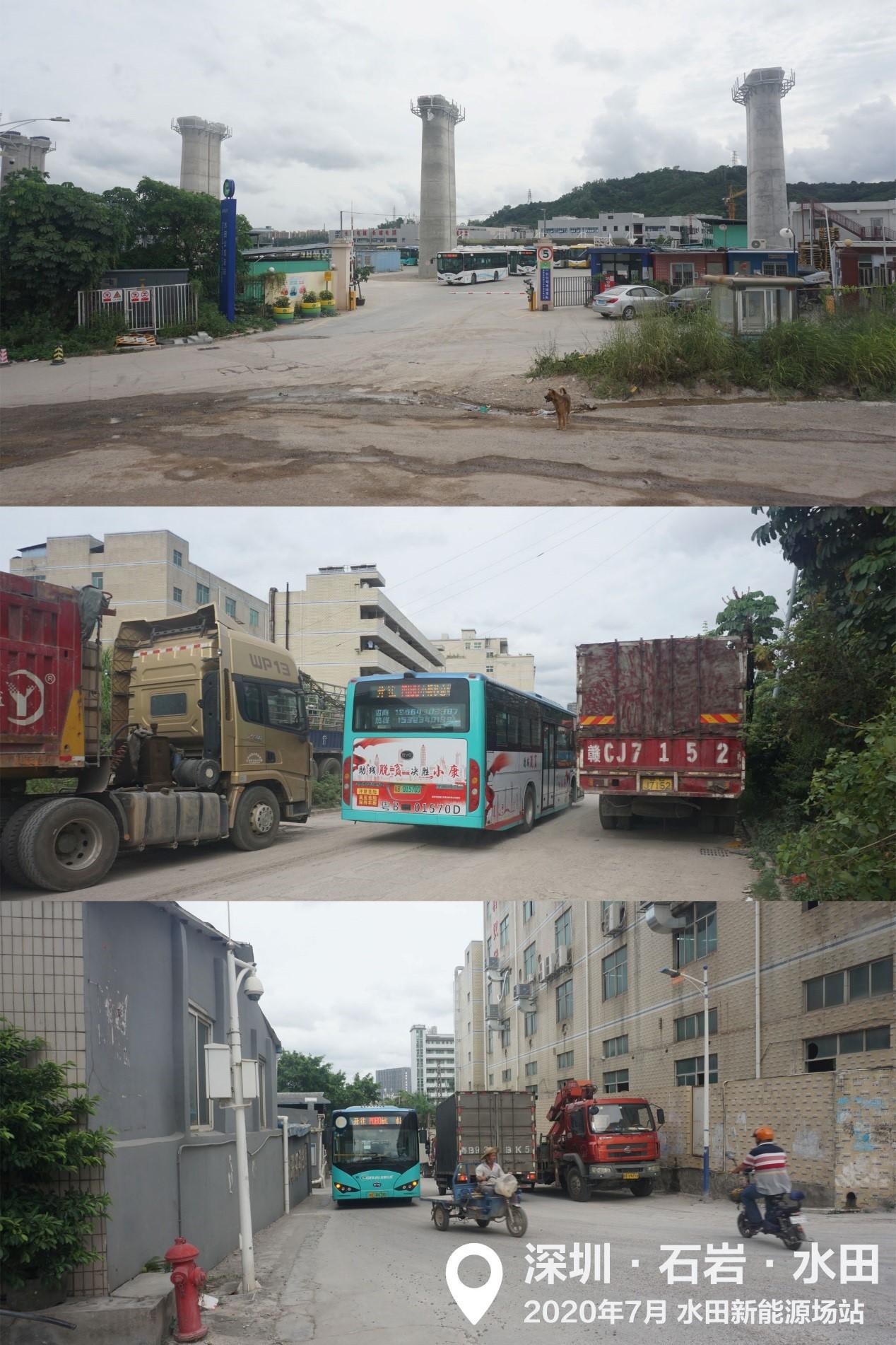 典型的深圳公交场站,位于工业区内部,地面未完全硬化,有护院犬但没有乘客服务设施;该场站部分充电桩建好后三个月,又因高铁建设而拆除,晚间出入场站要格外留心路边停放的大量车辆。但后来这里又增加了两条新线路。