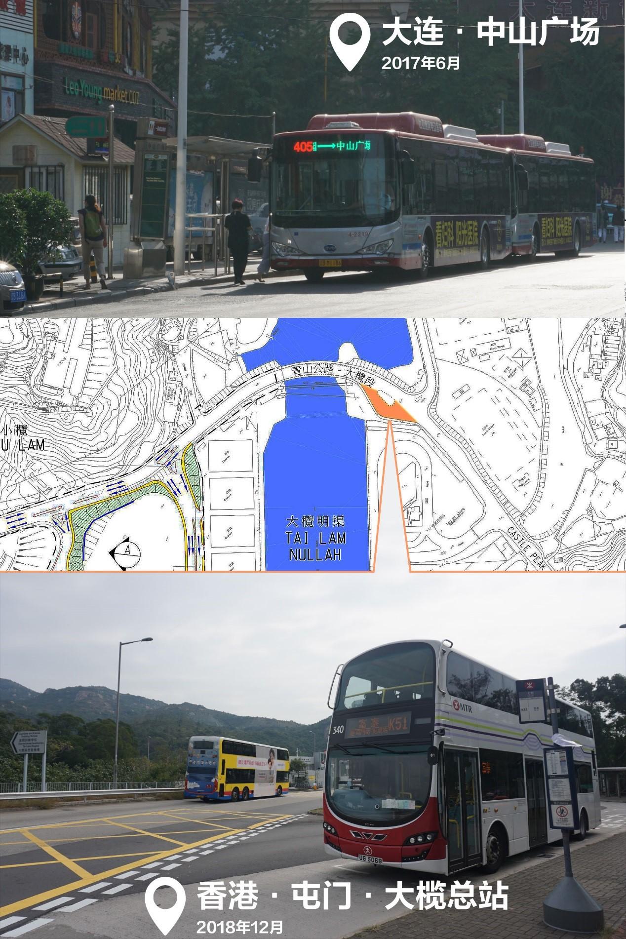 大连市中山广场周边的一个总站,和香港青山公路边的大榄总站;后者几乎是照着TDPM手册做的教科书范例,典型的具备掉头功能的服务终点,也是笔者爬山看红叶的意外收获之一。