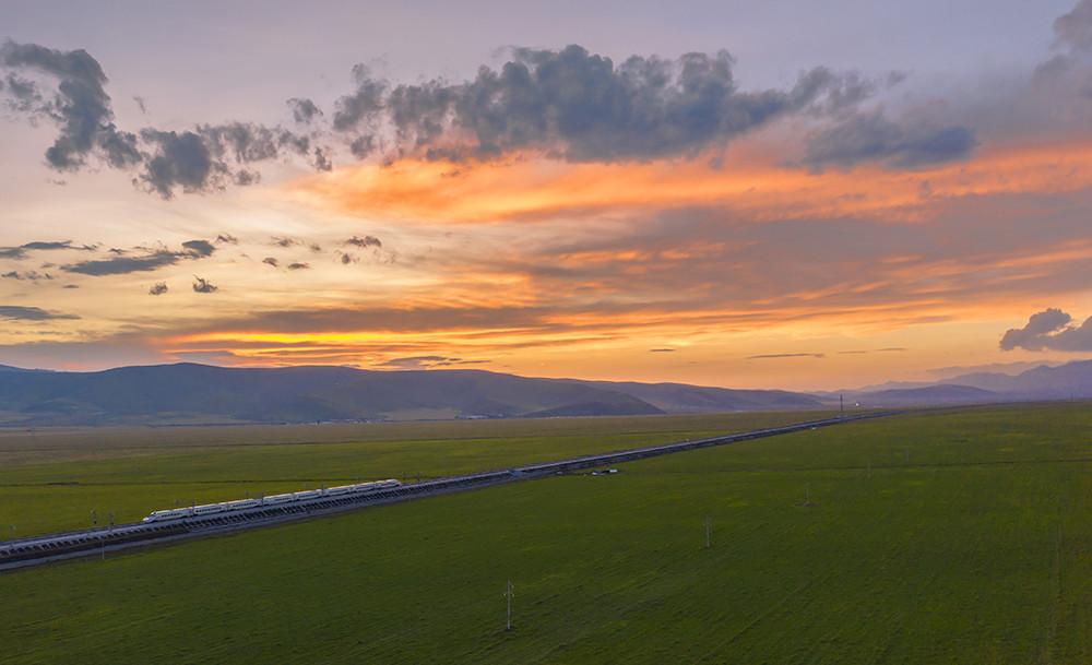 2019年8月4日,青海门源,一辆高铁正在油菜花田间穿梭着,落日的晚霞恰逢出现,映衬了这片神奇而美丽的祖国大地。
