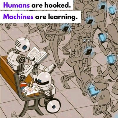 """""""人类在沉迷,机器在学习。""""来源:Instagram @ml.india"""