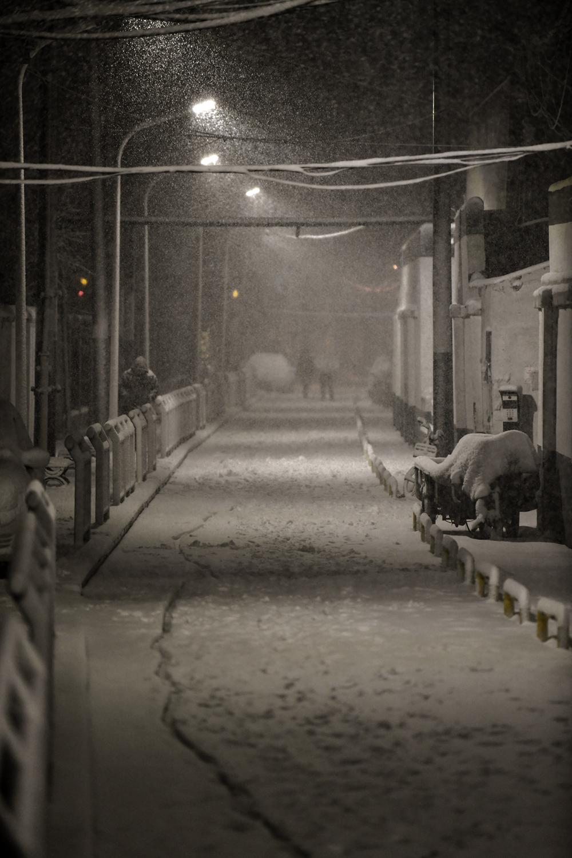 2021年2月24日晚,大雪覆盖郑州的大街小巷。