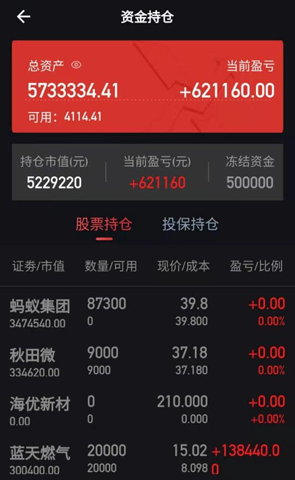 """高璐的""""信达机构APP""""账号显示,投资10天收益62万。"""