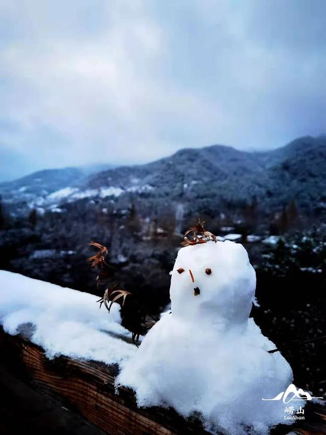青岛崂山的小雪人。好客山东 图(一起佰頭 摄)