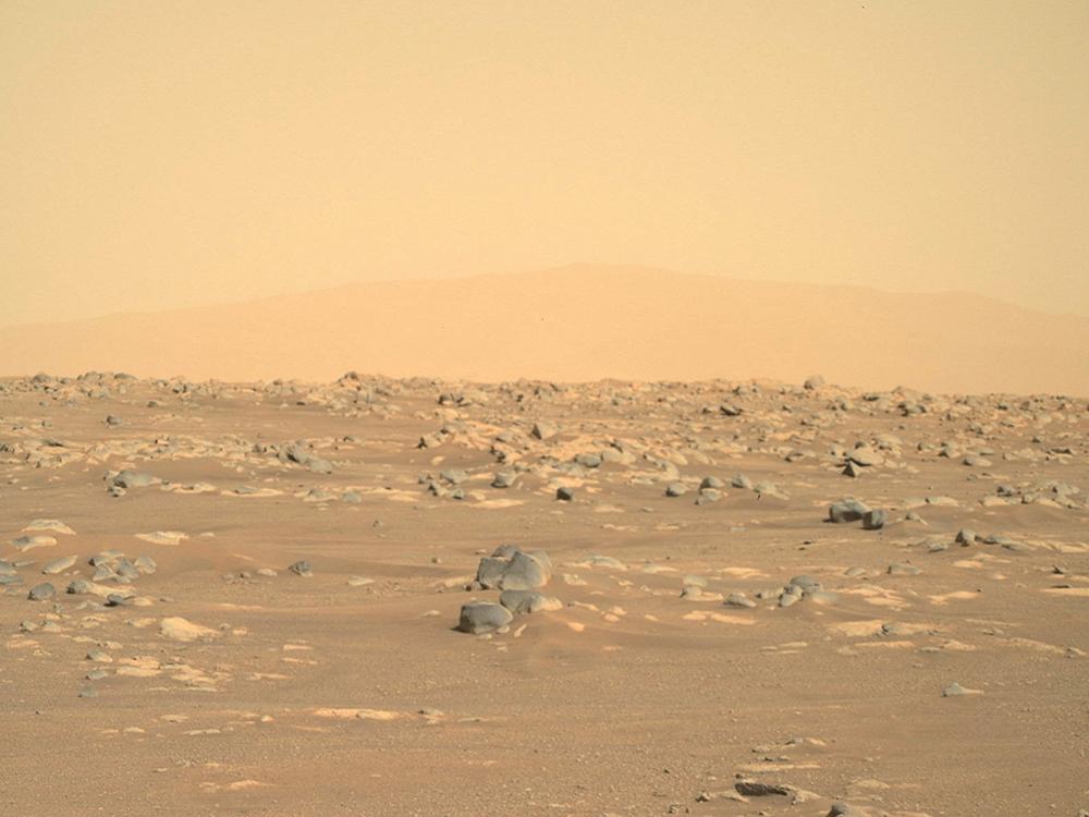 """当地时间2021年2月24日,美国宇航局(NASA)公布了""""毅力号""""漫游车在火星着陆地点拍摄的首张高清全景图,让公众第一次看到了新漫游车将探索的火星表面。本文图片 新华社、人民视觉、澎湃影像"""