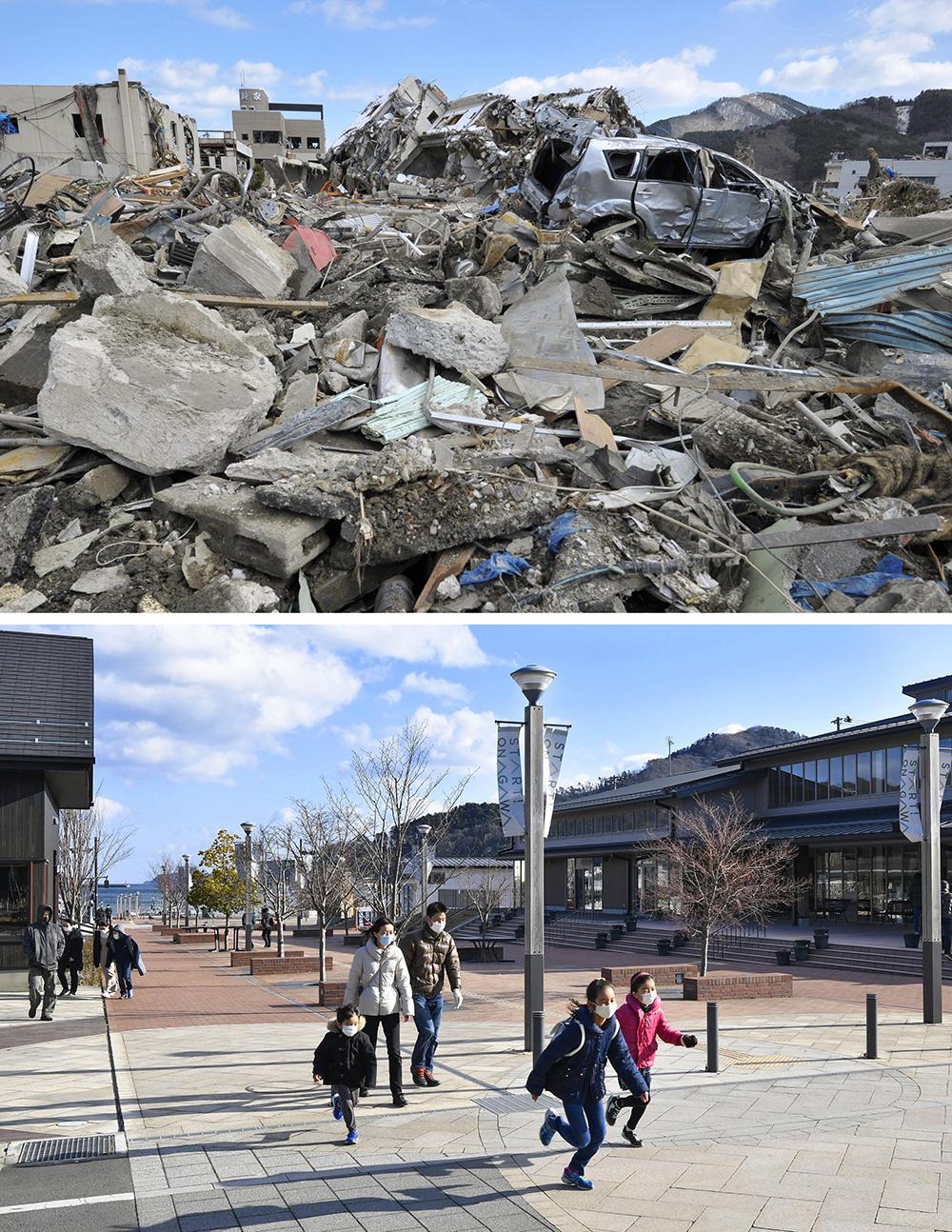 2021年3月1日报道,日本,实拍受东日本大地震影响地区的重建前后对比。上图为当地时间2011年3月18日,日本女川,东日本大地震发生后当地一片狼藉。下图为当地时间2021年1月31日,日本女川,实拍地震十周年后的重建区域。