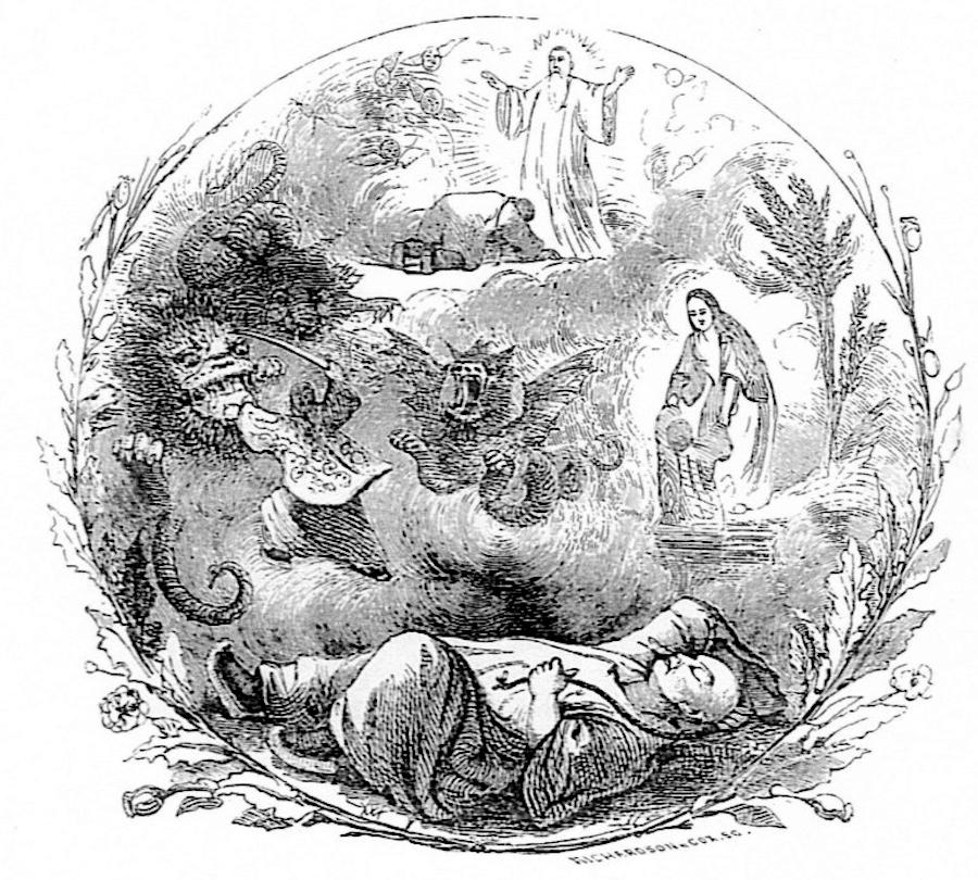图4 洪秀全的幻梦,载于J. Milton Mackie《太平王的生涯——中国的叛乱首领》