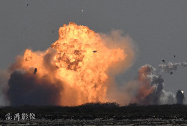 SN10在着陆8分钟后爆炸。 图片来源:澎湃影像